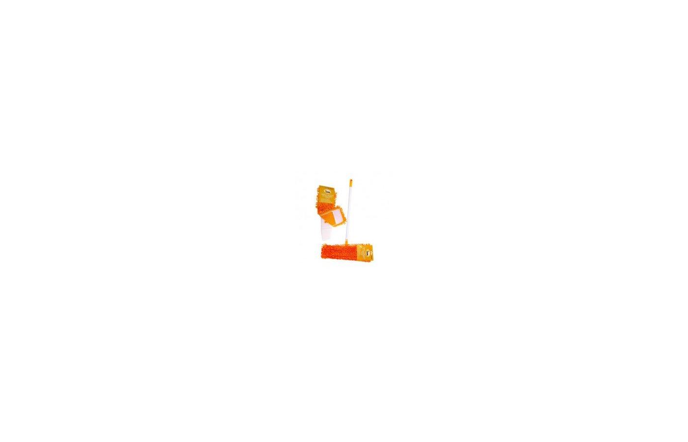 Инвентарь для уборки РЫЖИЙ КОТ MopM4 Швабра для пола с насадкой из микрофибры Лапша р-р рам:97х395см р-р нас.: 14х44см