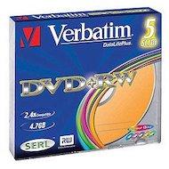 Фото DVD-диск Диск DVD+RW Verbatim 4x 4.7Gb Slim Case Color Serl (43297)