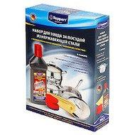 Фото Средсва по уходу за кухней TOPPERR 3413 набор для чистки и ухода за посудой из нерж.стали (нерж+губка+салфетка)