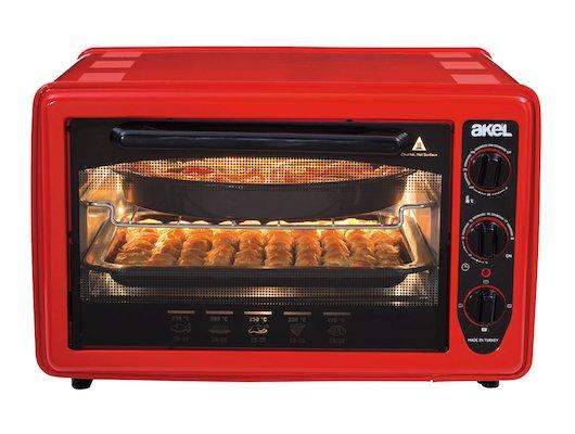 Электрическая мини-печь AKEL AF-730 (красная) (36л.терморег.таймер)