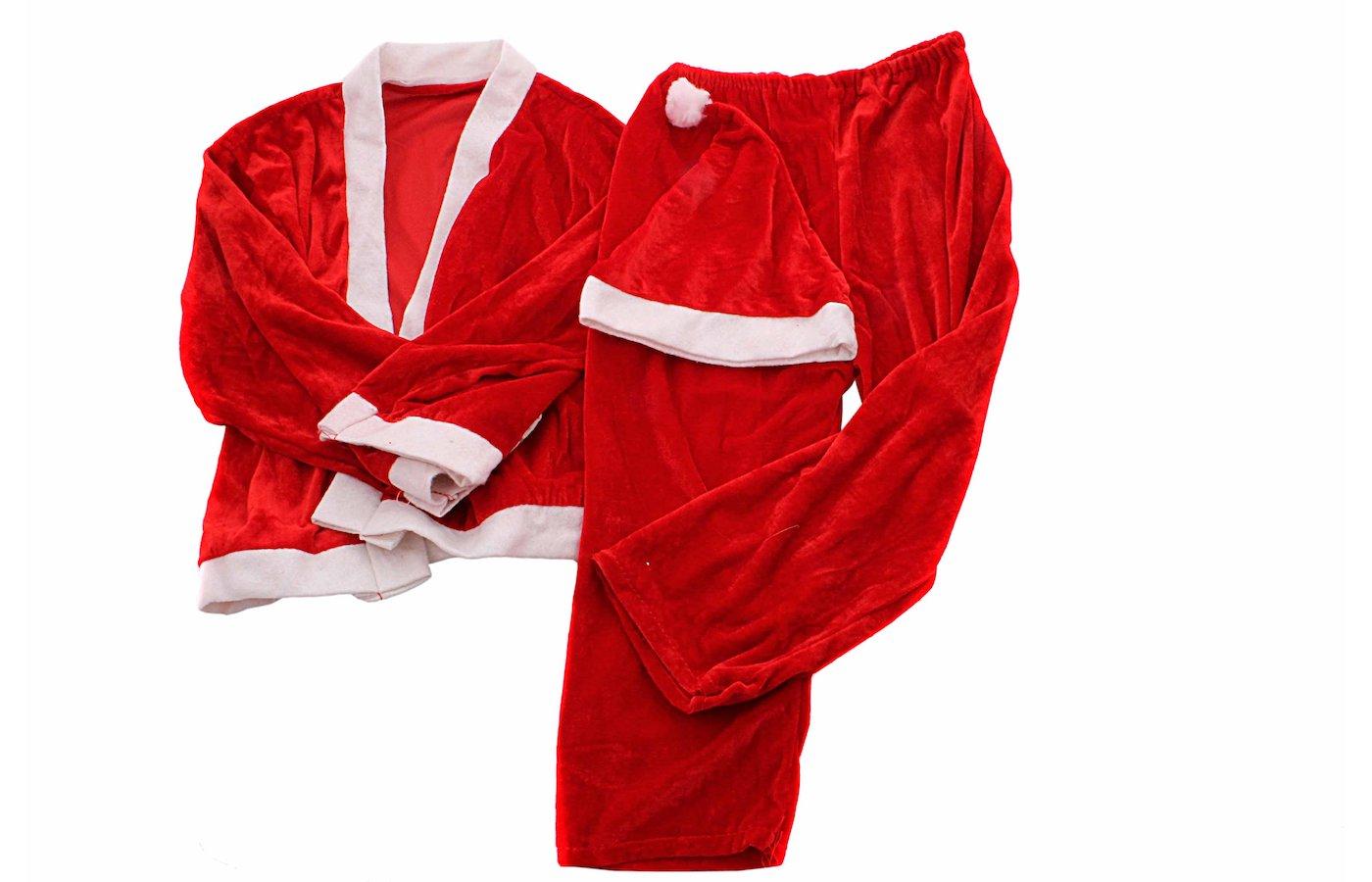 Костюм Сноу Бум Дед мороза (кафтан брюки колпак пояс) 6-9лет красный плюш 389-223
