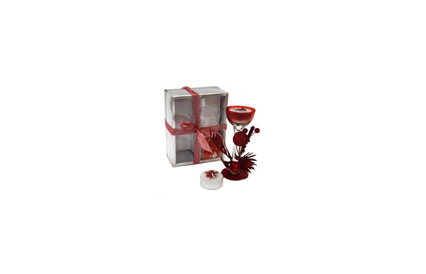 Игрушка Подарочный набор Сноу Бум подсвеч-к фужер 2 чайн свечи 13х10 см 1110GSS282-W 396-261