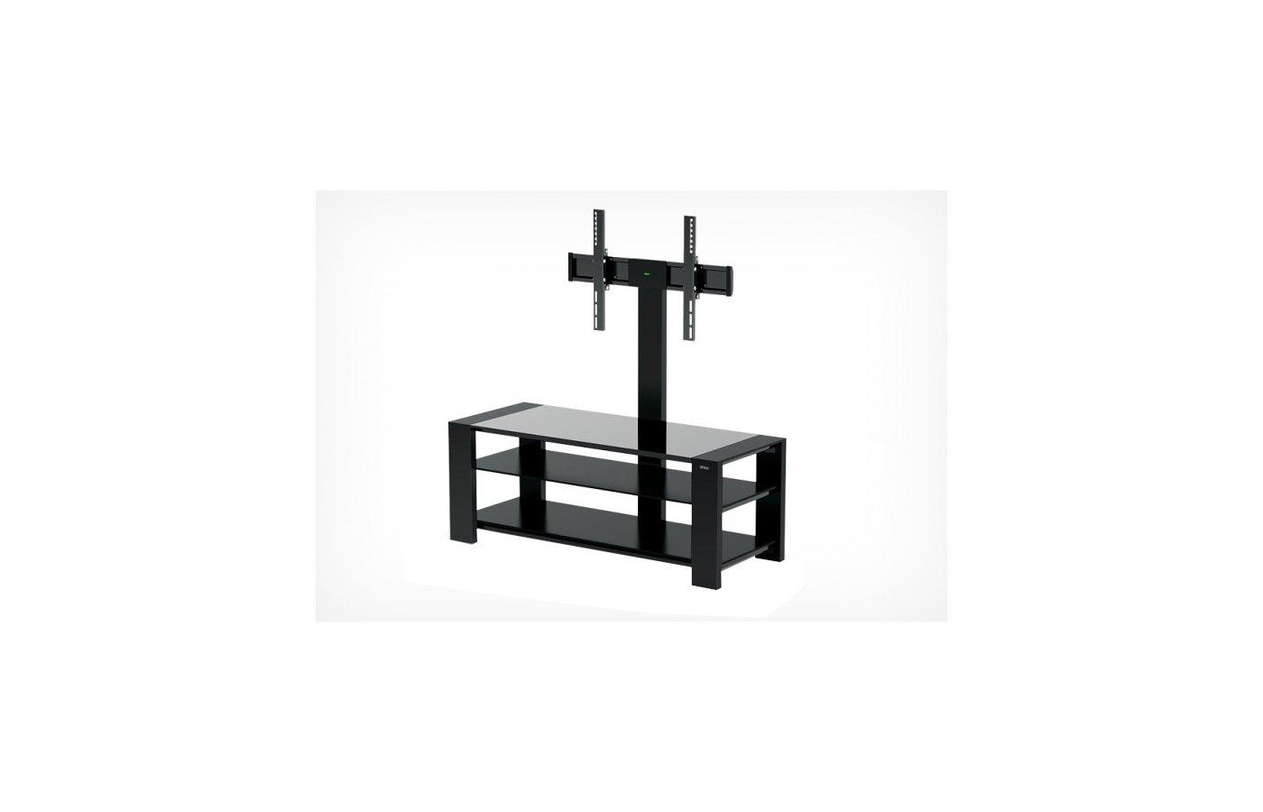 Телемебель Holder TV-32110 черный матовый+черное ст.