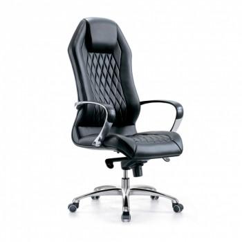 Кресло Бюрократ aura/black кресло руководителя, черный, кожа, крестовина алюминий