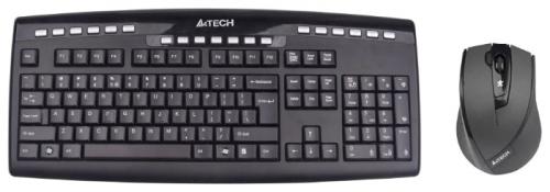 Клавиатура + мышь A4Tech 9200F (GR-86+G9-730FX) No any Lag GlRun Wir V-Track Desktop USB Gl Bk