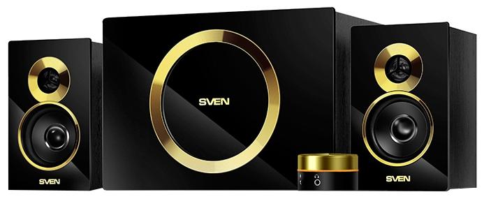 Купить Колонки для ПК ms-1085 gold 2.1 черный 46вт  Акустическая система Sven