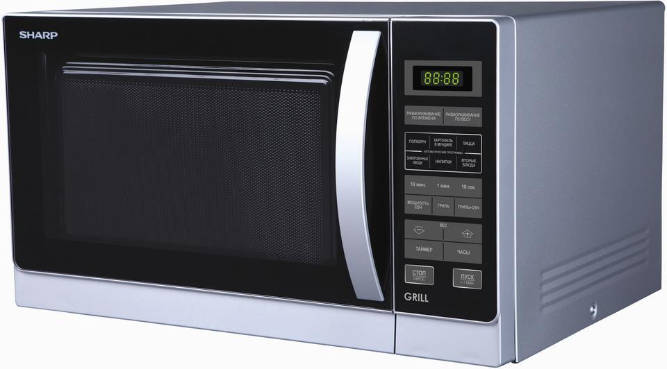 Микроволновая печь Sharp - SharpОбъем: 25 л; Мощность микроволн: 900 Вт; Тип управления: электронное; Гриль: есть<br><br>Цвет: серебристый