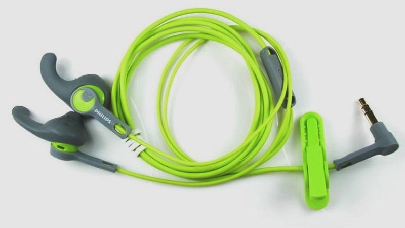 Наушники спортивные PHILIPS SHQ 1300LF серый/салатовый