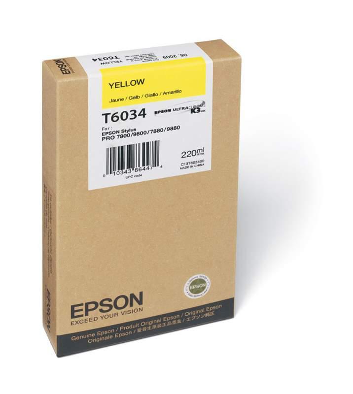 Картридж струйный Epson c13t603400 желтый для epson st pro 7880/9880 (220мл)