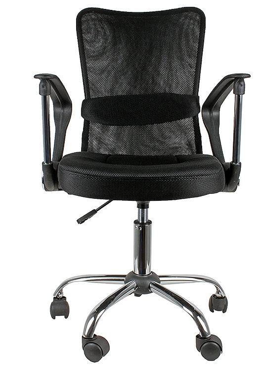 Кресло College кресло офисное h-298fa-1 черный, ткань, сетчатый акрил, 120 кг, крестовина хром, подлокотник