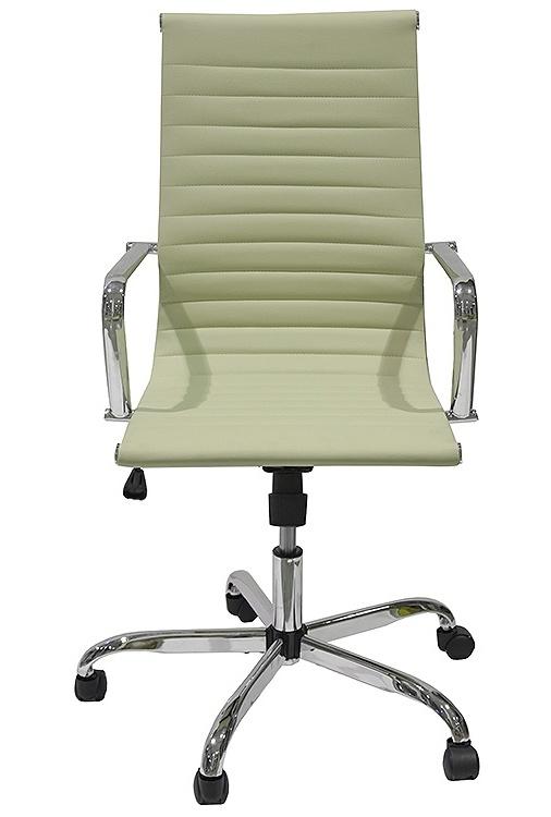 Кресло College кресло офисное h-966l-1, бежевый, кожа, 120 кг, подлокотники кожа/хром, крестовина хром, (шx