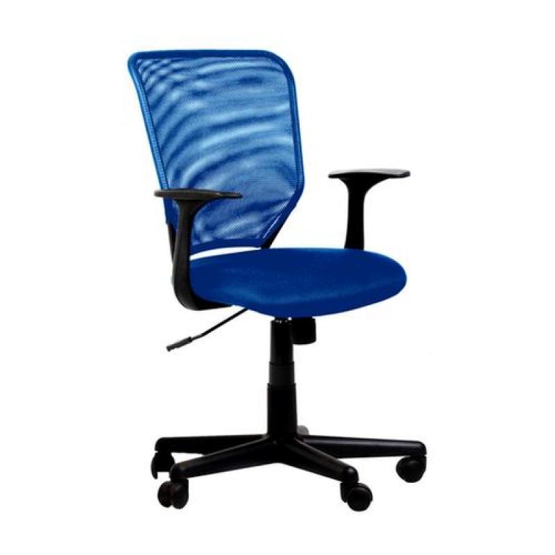Кресло College кресло офисное h-8828f синий ткань, сетчатый акрил, 120 кг, крестовина и подлокотники черный