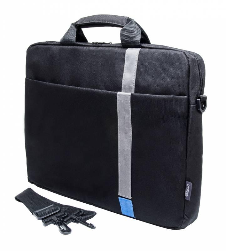 "Кейс для ноутбука PC PET PCP-1001BL 15.6"" Polyester HQ Classic Toplader Front compartment Blue Patch Черный"