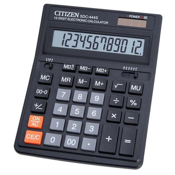 Калькулятор Citizen SDC-444S черный 12-разр.