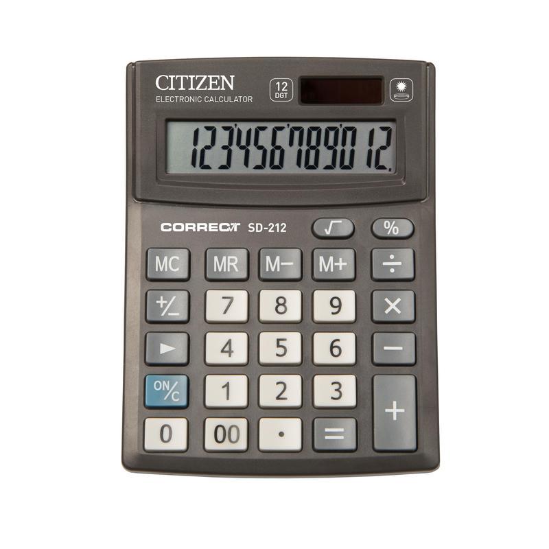 Калькулятор Citizen Correct SD-212 черный 12-разр.