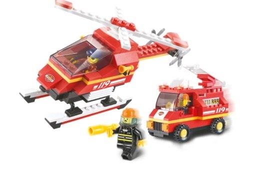 Конструктор Sluban M38-B0219 Вертолёт и пожарная машина 211дет.