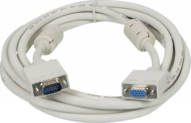 Видео кабель Ningbo VGA(m) - VGA(f) удлинитель 3м феррит.кольца