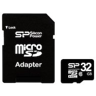 Карта памяти Silicon Power microSDHC 32Gb Class 10 + адаптер (SP032GBSTH010V10-SP) в Уфе
