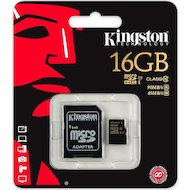 Фото Карта памяти Kingston microSDHC 16Gb Class 10 + адаптер UHS-I 90R/45W (SDCA10/16GB)