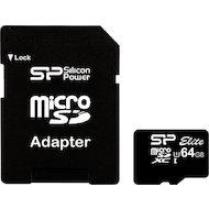 Карта памяти Silicon Power microSDXC 64Gb Class 10 + адаптер (SP064GBSTXBU1V10-SP)
