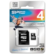 Карта памяти Silicon Power microSDHC 4Gb Class 4 + адаптер (SP004GBSTH004V10-SP)