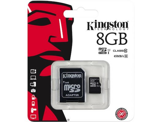 Карта памяти Kingston microSDHC 8Gb Class 10 + адаптер (SDC10G2/8GB)