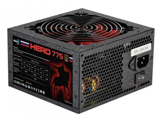 Блок питания Aerocool ATX 750W Hero 775 80+ bronze (24+4+4pin) APFC 120mm fan red LED 6xSATA RTL
