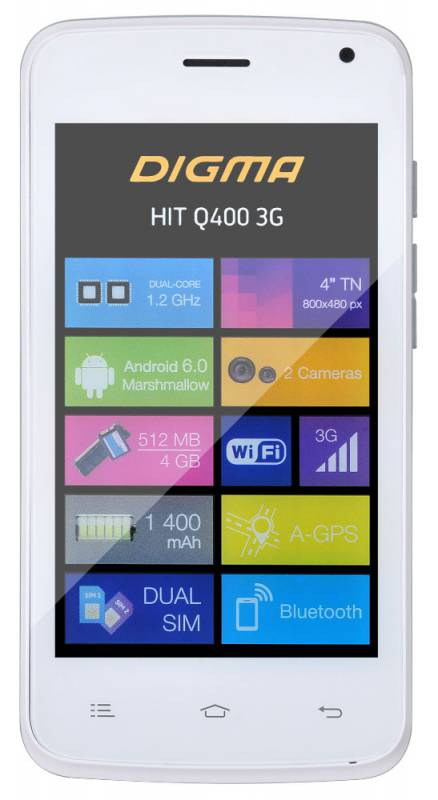 Смартфон Digma HIT Q400 3G white