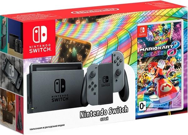 Игровая приставка Nintendo switch серый + игра mario kart 8 deluxe